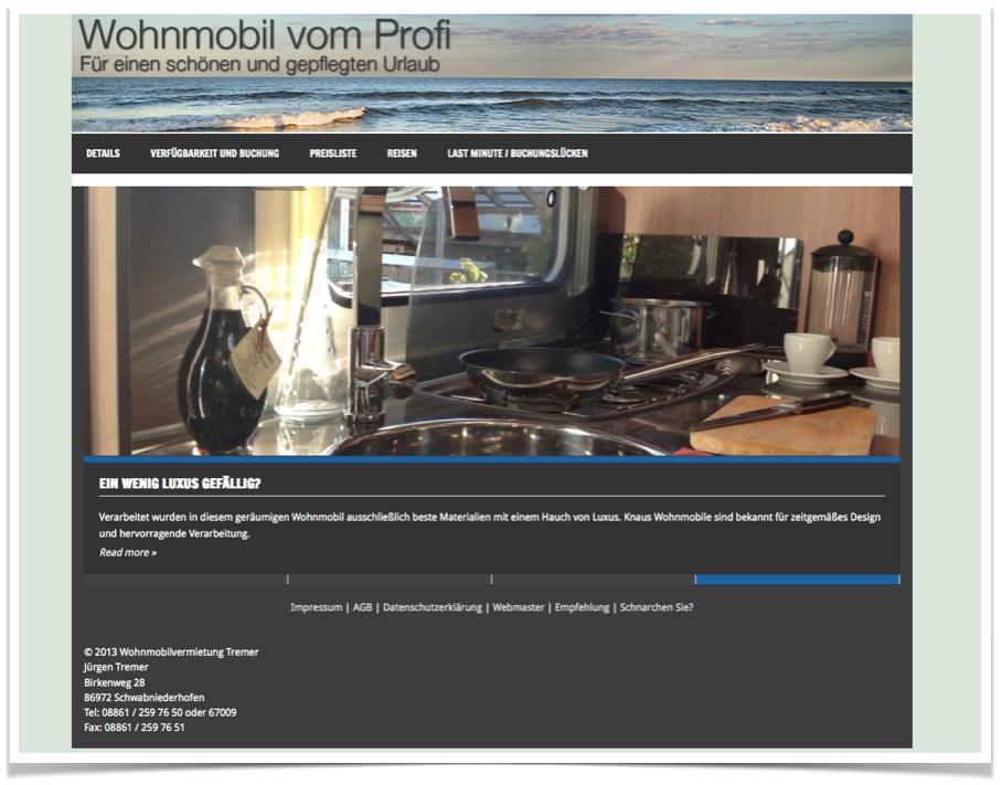 Webseite für Wohnmobilvermietung mit Buchungskalender